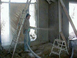 Projection de mortier chaux chanvre / Isolation thermique et phonique